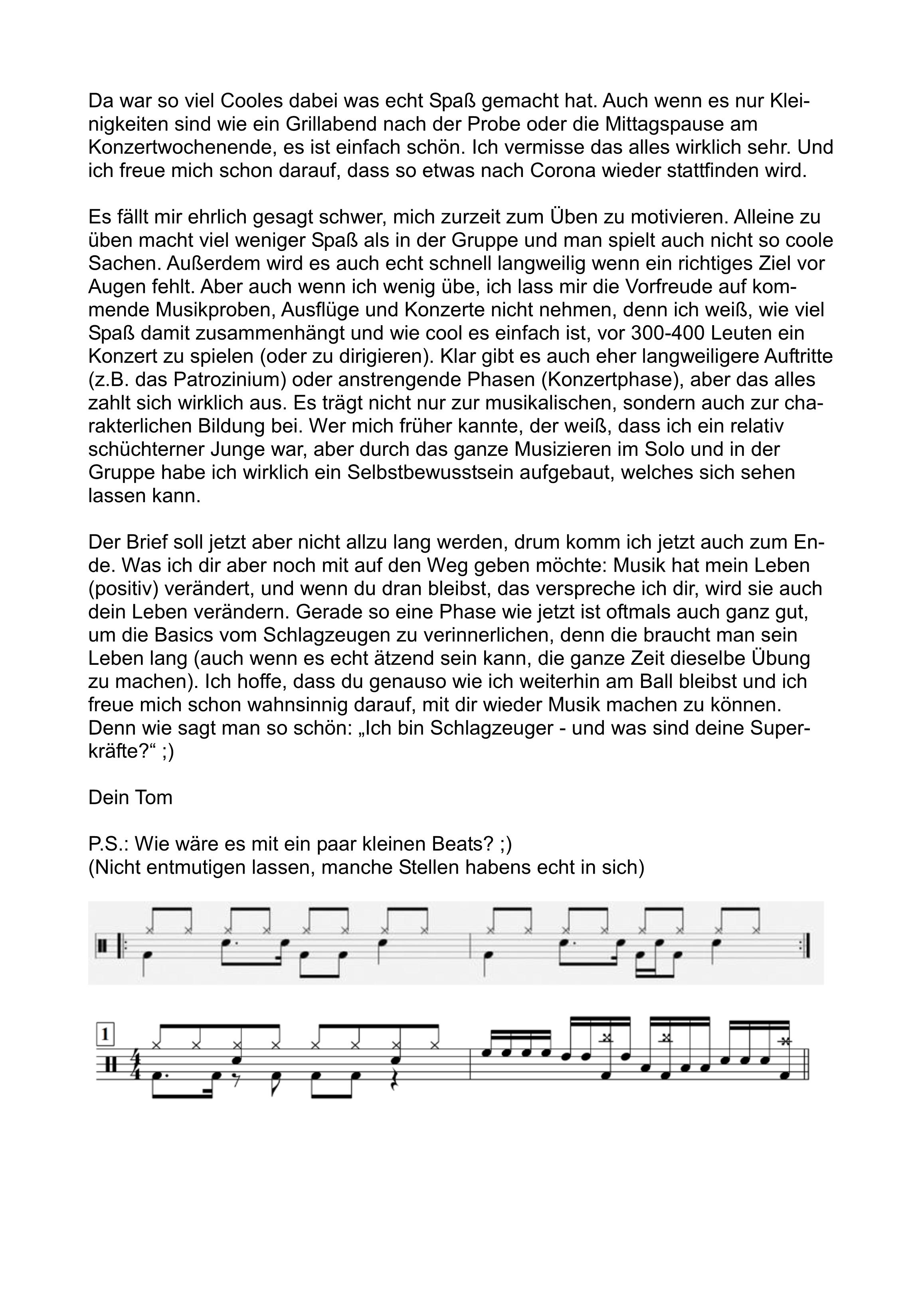 Brief an die Schlagzeuger